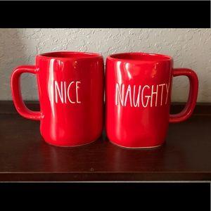 Rae Dunn Red Naughty & Nice Set of 2 Mugs